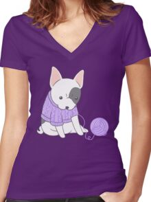 French Bulldog in a Knitted Jumper Women's Fitted V-Neck T-Shirt