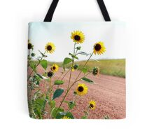Sunflower along country road Tote Bag