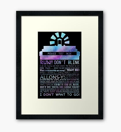 10TH doctor QUOTES Framed Print