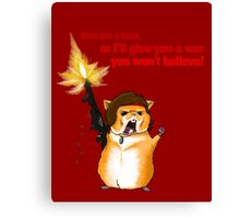 Hamster Rambo Text Canvas Print