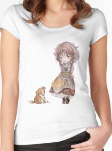 Sprawling Puppy Meets A Mori Girl Women's Fitted Scoop T-Shirt