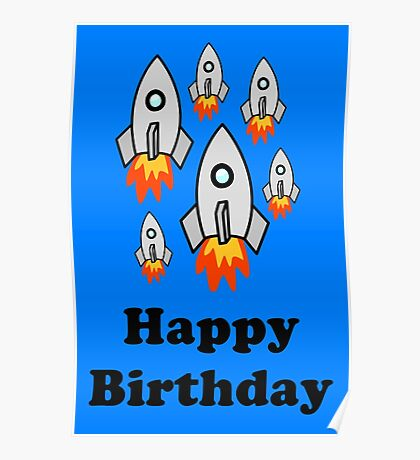 Exodus by Rocket Ships Happy Birthday Greeting Card by Chillee Wilson Poster