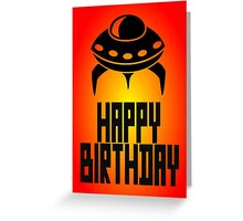 Space Invader Happy Birthday Greeting Card by Chillee Wilson Greeting Card