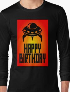Space Invader Happy Birthday Greeting Card by Chillee Wilson Long Sleeve T-Shirt