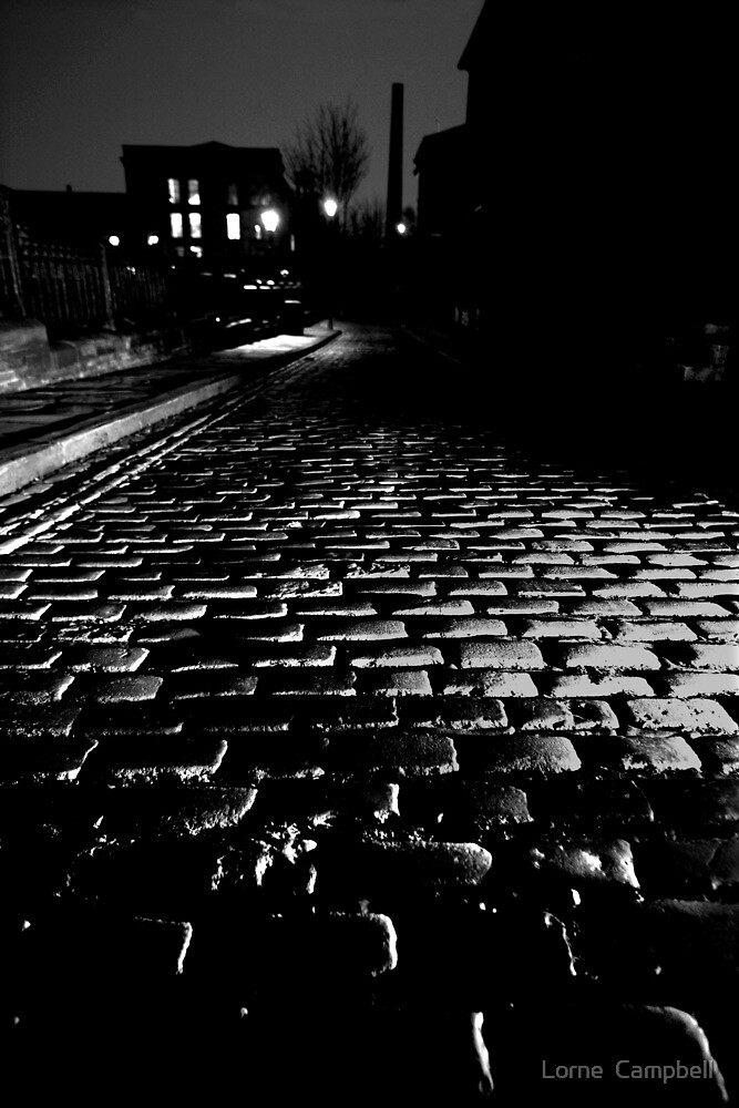 Saltaire Village, Yorkshire Cobbles at Dusk by Lorne  Campbell