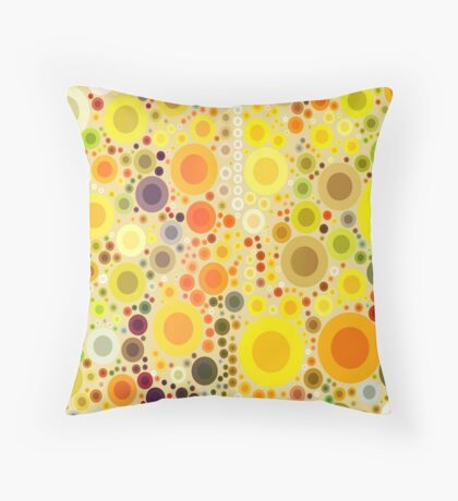 vivid summer country sunflower circles yellow bubbles Throw Pillow