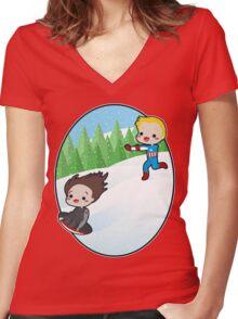 The Winter Sledder Women's Fitted V-Neck T-Shirt