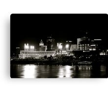 Cincinnati skyline, black and white Canvas Print