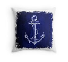 Rustic beach sailor fashion Navy blue anchor nautical  Throw Pillow