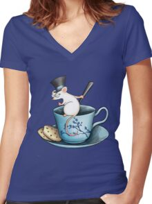 Tea Cup Mouse in Tophat Women's Fitted V-Neck T-Shirt