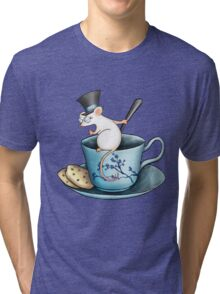 Tea Cup Mouse in Tophat Tri-blend T-Shirt