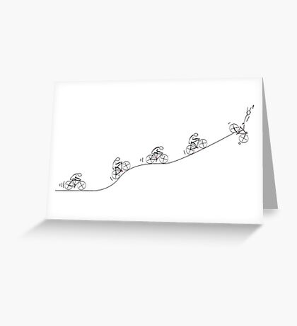 Over the Hill Cyclist Greeting Card