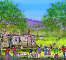 """Outback Australian Barbeque""Original Vivid Australian Acrylic Painting; SOLD by EJCairns"