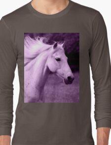 Purple White Horse Head Long Sleeve T-Shirt