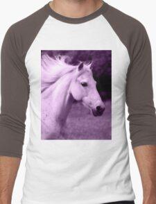 Purple White Horse Head Men's Baseball ¾ T-Shirt