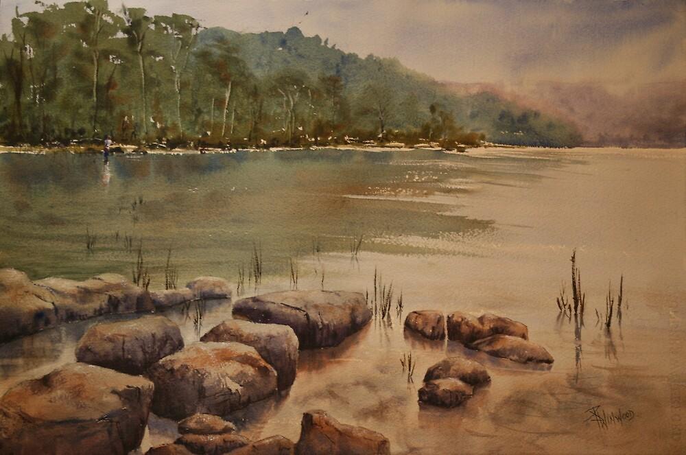 Fishing at Arthurs Lake, Tasmania by Pauline Winwood