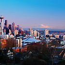 Seattle Skyline at Sunset by Jennifer Hulbert-Hortman