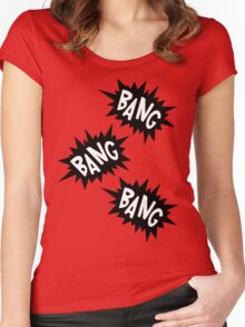 Cartoon Bang Bang Bang by Chillee Wilson Women's Fitted Scoop T-Shirt