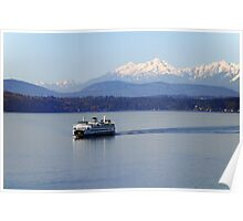 Seattle Ferry on Puget Sound Poster