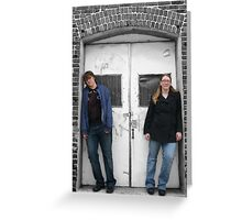 Beth and Brandi in a doorway (color seperation) Greeting Card