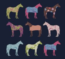 Colorful Horse Pattern Kids Tee