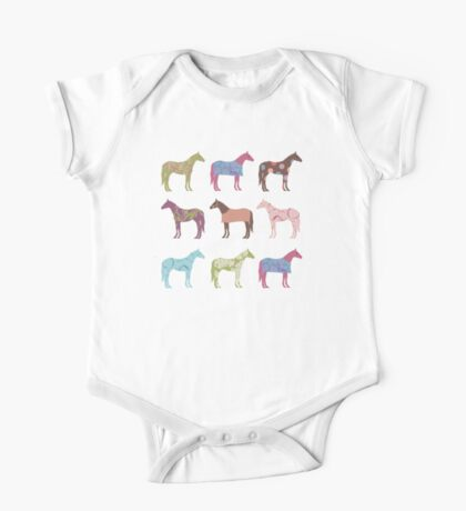 Colorful Horse Pattern One Piece - Short Sleeve