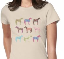 Colorful Horse Pattern Womens Fitted T-Shirt