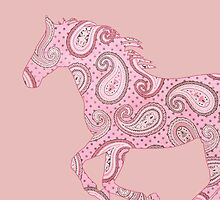 Cute Pink Paisley Horse by PaintingPony