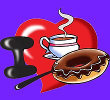 I Love Coffee and Donuts by Edmond  Hogge
