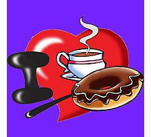 I Love Coffee and Donuts Photographic Print