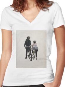 Cyclists Women's Fitted V-Neck T-Shirt
