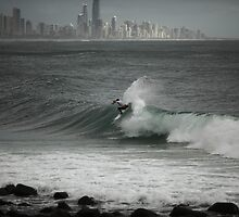 Pro Surfing at Burleigh by Paul Manning