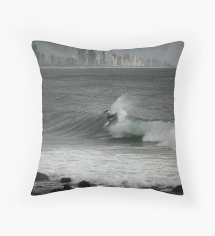 Pro Surfing at Burleigh Throw Pillow