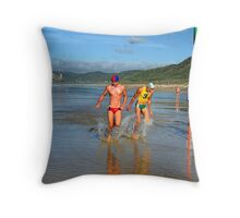 Close finish in Under 19 ski relay Throw Pillow