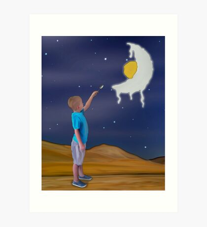 Savoring the Taste of the Runny Moon Art Print