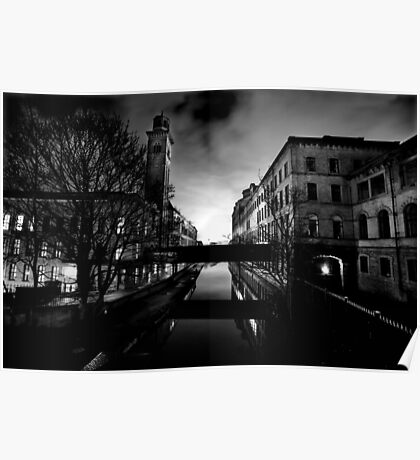 Salts Mill and Canal Evening Poster
