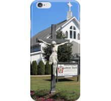 Statue In Front Of Resurrection Lutheran Church iPhone Case/Skin