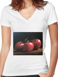 Three Tomatoes Women's Fitted V-Neck T-Shirt