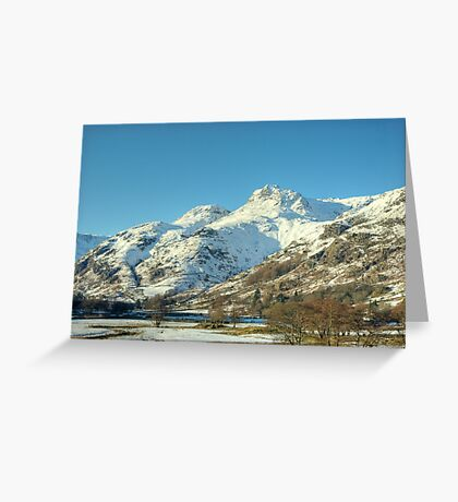 The Langdale Pikes in January Greeting Card