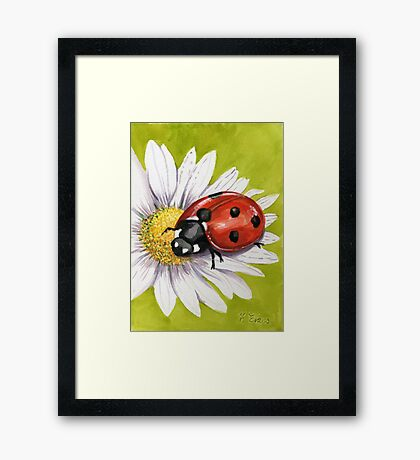 Ladybird on Daisy Framed Print