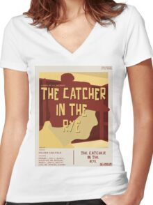 Catcher In The Rye - Vintage Movie Poster Style Women's Fitted V-Neck T-Shirt