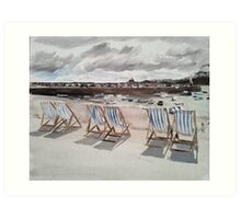 Deck Chairs at St Ives Art Print