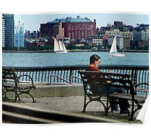 Relaxing by the Manhattan Skyline Poster