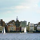 Two Sailboats Against Manhattan Skyline by Susan Savad