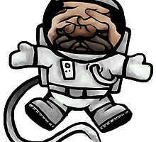 pug astronaut in space by meletti