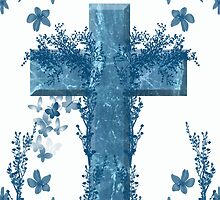 Easter Blessings Card With Cross And Flowers Blue  by Moonlake