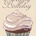 Watercolour Painted Cupcake Happy Birthday by Moonlake