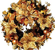 Golden Christmas Wreath by Beatriz  Cruz