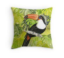 Toucan in Jungle Throw Pillow