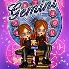 Gemini Birthday Card Zodiac With Moonies Cutie Pies by Moonlake